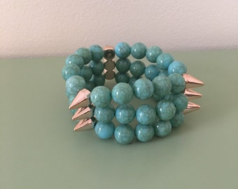 Spiked Turquoise Beaded Bracelet