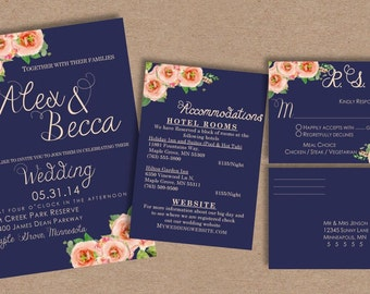 Wedding Invitation Set //Navy//Floral//Romantic
