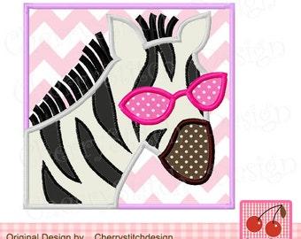 "Zebra Sunglasses Zebra Machine Embroidery Appique AN0026 -4x4 5x5 6x6"""