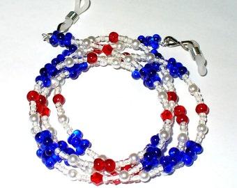 Necklace, bracelet, blue white red 76 cm (82)
