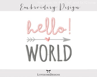 Hello World Three Sizes Embroidery Design, Onesie Embroidery, Hello World Embroidery, Newborn Embroidery Design, Calligraphy Embroidery