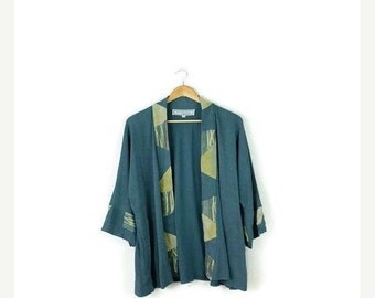 SUMMER SALE Vintage Pale Green Abstract Slouchy Cardigan from 80s*