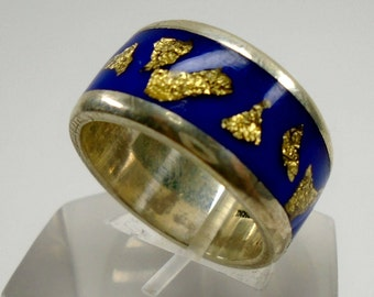 Silver 925 ring with blue resine and gold flakes, with personalized text