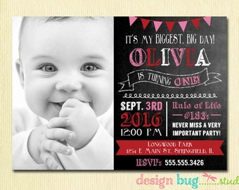 Olivia the Pig inspired Chalkboard Birthday Invitation - Red, Black, White, Pink Birthday Party - Girls Printable Photo Invite