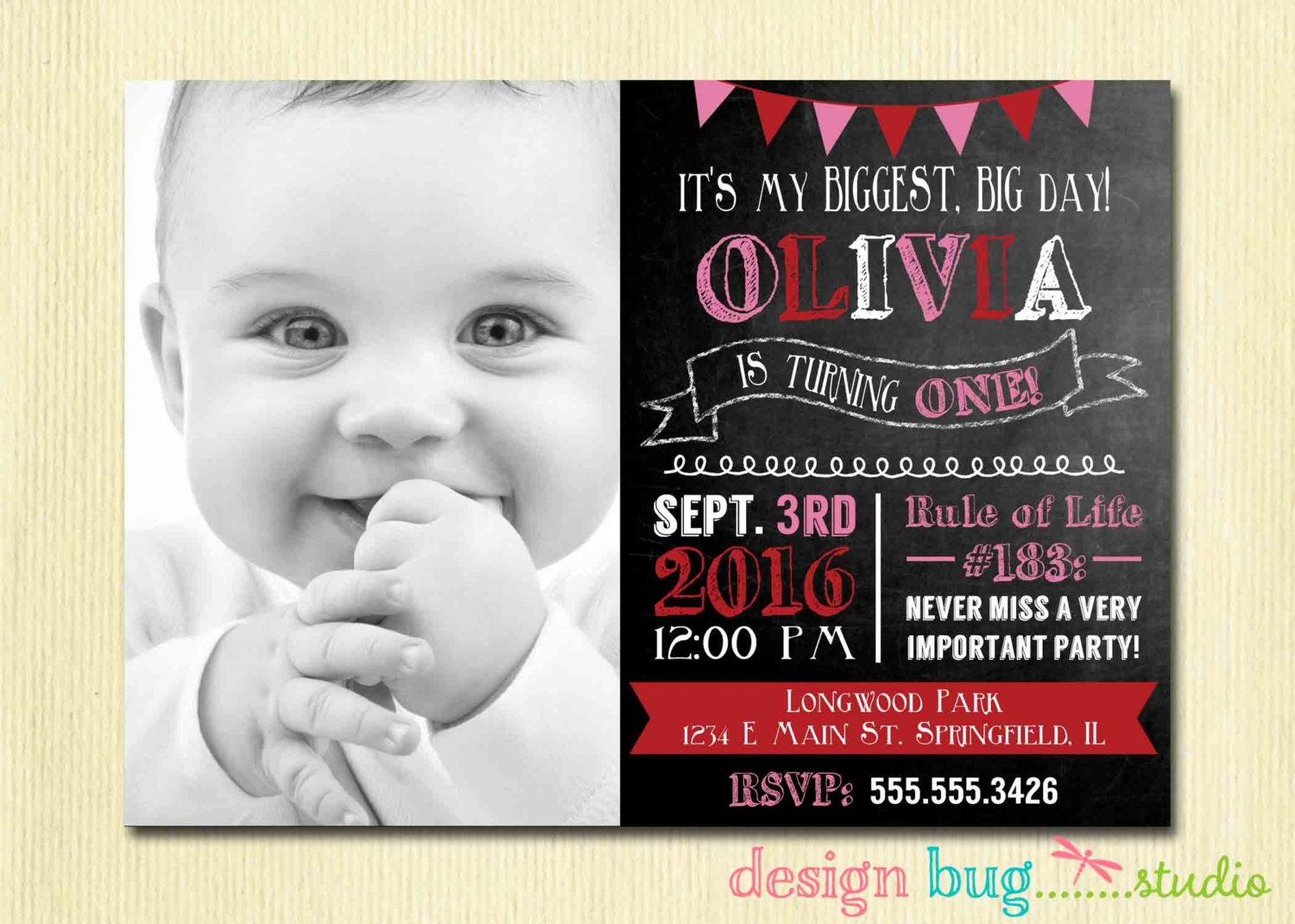 Olivia The Pig Inspired Chalkboard Birthday Invitation Red - Birthday invitation templates for 1 year old