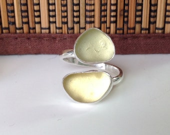 Handmade Sterling silver and double sea glass ring - UK size N US 7