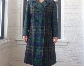 1960s Plaid Wool Coat