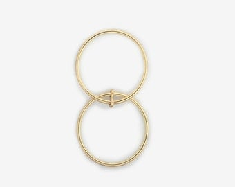 Double finger ring Set of two thin 14kt gold rings