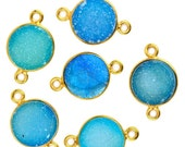 30% Valentines Day Light Blue Color Druzy, Bezel Round Shape Connector, 10mm Round 24K Gold Plated, Double Bail 1pc. (LCZ-11155)