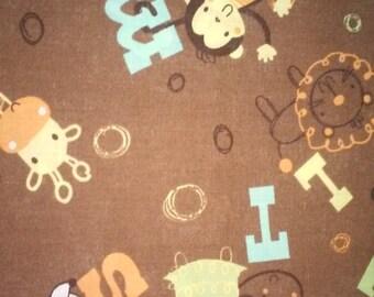 Brown Alphabet and Animal Print (1/2 yard)