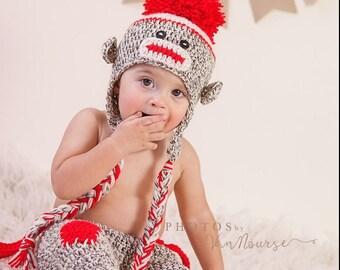 Crochet Sock Monkey Prop, Sock Monkey Hat, Sock Monkey Photo Prop, Monkey Hat, Monkey Pants, Crochet Hat, Crochet Pants, Crochet Overalls