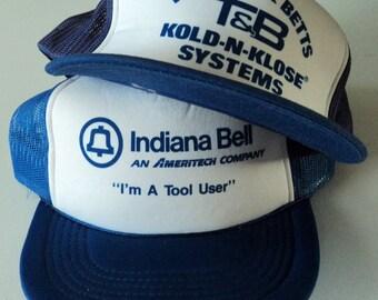 Vintage Lot (2) Trucker Style Snapback Hats VTG