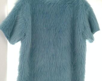 Yard666sale Baby blue faux fur tshirt
