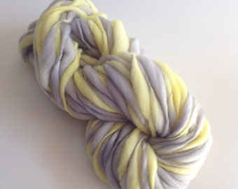 Handspun Thick and Thin Merino Wool Yarn - 50 yards - Yellow Grey