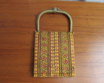 Vintage Taj Of India Purse with Brass Handle with flower and bird details