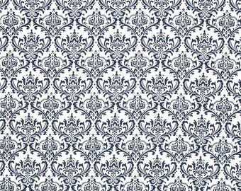 Madison White on Navy Premier Prints Fabric - One Yard - Navy Blue Damask and White Home Decor Fabric