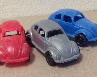 1960s VW CAR lot Bug Beetle plastic Hong Kong vintage mini miniature Volkswagen red gray blue toy