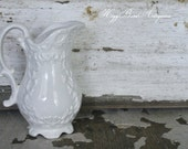 Vintage White Ironstone Salt Pepper Shaker Floral French Farmhouse Country Shabby Chic