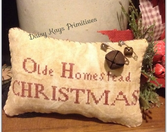 Primitive Olde Homestead Christmas Pillow Tuck Stitchery
