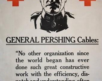 WWI Red Cross Poster - General Pershing - Vintage Poster - World War I