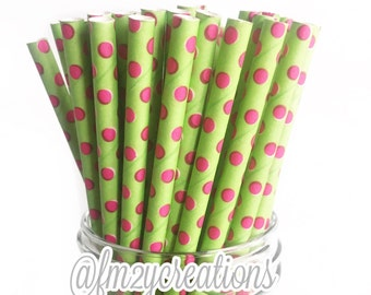 Pink and Green Paper Straws | Lime Hot Pink Polka Dot Paper Straws | Alpha Kappa Alpha | Kappa Delta | Pink and Green Baby Shower