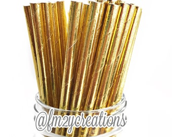 Solid Gold Foil Paper Straws, 25 Metallic Gold Foil Solid Paper Straws, Foil Paper Straws