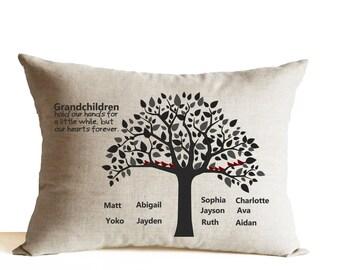 Grandma Grandpa Pillow -Grandparents Throw Pillow -Gift For Grandparents -Gift from Kids -Custom Pillow -Personalized Pillow Customized Gift