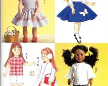 "McCalls P482 or 7266, 18"" Retro Doll Clothes, Sewing Pattern, New Uncut, DIY Cute Retro Doll Clothes, fits 18"" Doll"