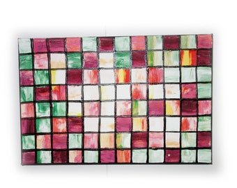 """Rose mosaic small Original Painting Abstract Art 33 Midcentury Modern by KSAVERA 8""""x12"""" Little paintings on canvas birthday for mom her"""