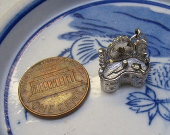 Vintage Silver Vanity Dresser Desk Charm...Silver Nuvo Charm...3D Dresser Charm....Lovely Detail...Bracelet Charm