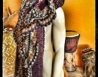 PrimalForged, Scoodie, Reversible Hood, Hat, Hooded Scarf, Festival Wear, Crochet Hood, Purple Hoodie, Gypsy Hood, Witches Hood