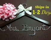 SALE. Personalized Bridal Wedding Hanger. Bridal Hanger. Bridal Party. Custom Hanger. Comes With Bow
