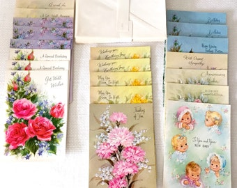 1950s Greeting Cards Assortment 20 Cards Envelopes Box