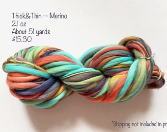 Handspun Yarn -- Thick and Thin -- Merino Wool -- 2 Available