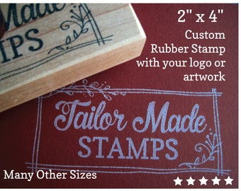 """Custom Logo Stamp, Rubber Stamp, Packaging Rubber Stamp, Business Stamp, 2"""" x 4"""" Wood Mounted"""
