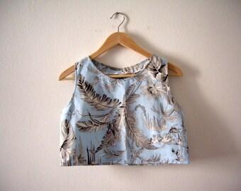 Floral Crop Top, Light Blue Cotton Top, Summer Crop Top, Made To Order