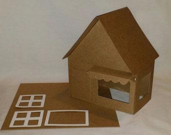 Putz Style Cardboard Houses- LARGE SHOP - DIY