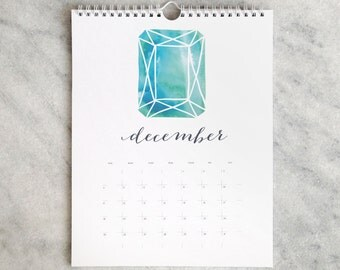 2017 Monthly Calendar, birthstone, jewels, gemstones