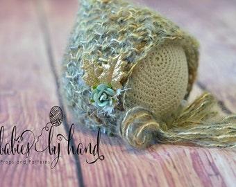 Newborn Photo Prop, Baby Teal Gold Winter Bonnet, Winter Baby Hat, Christmas Newborn Hat, Christmas Crochet, Christmas Baby Hat, Baby Gift