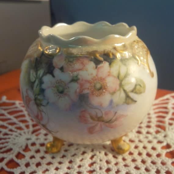 Three Footed Rose Bowl Hand Painted Marked Vienna 1900