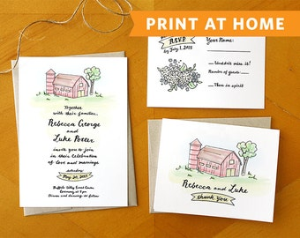 Country Fields: Printable Wedding Invitation and RSVP Card Suite - Hand Painted and Hand Drawn Wedding Invitation