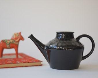 Rörstrand Sweden - CEYLON - teapot - black - Hertha Bengtson - Scandinavian mid century design