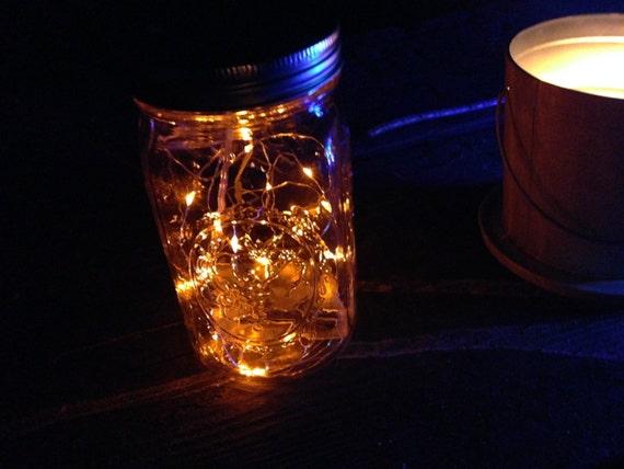 String Lights In A Mason Jar : Mason Jar Lantern Fairy Lights LED String Light AA Battery