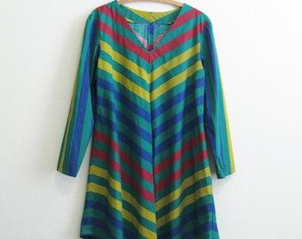 Mod Shirt Dress V-stripe Green Dress Primary Colors Mod Dress Rainbow Medium Length Shift Dress Cotton Summer Dress