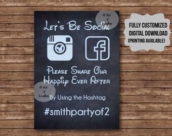 Customized Social Media Hashtag sign Wedding event share photos Disney theme cinderella