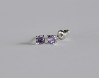 Sparkling Sterling Silver Little Girls Stud...Girls CZ Stud Earring...Girls Stud Earring...June Birthstone...Free Shipping!!