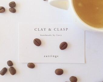 Coffee Bean Earrings - beautiful handmade polymer clay jewellery by Clay & Clasp