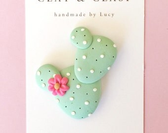Cactus Brooch - beautiful polymer clay jewellery by Clay and Clasp