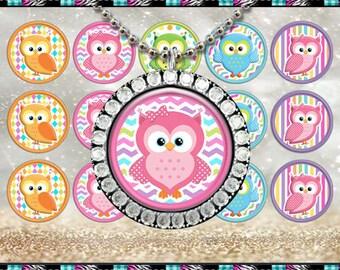 """Candy Owls - INSTANT DIGITAL DOWNLOAD - 1"""" Bottlecap Craft Images (4x6) Digital Collage Sheet"""
