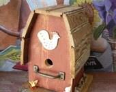 Rustic Birdhouse in Barn Red Handmade Outdoor Garden